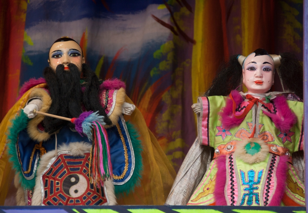 Close Up of Two Puppets from the Puppet Show