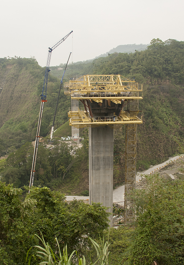 Bridge Construction in Taiwan for a roadway going over a steep sided valley.