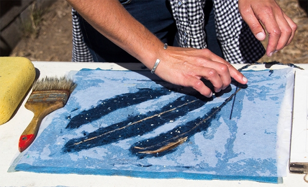 Blue Feathers Being Made