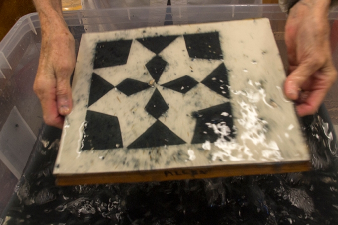 dipping hex pattern mold in vat
