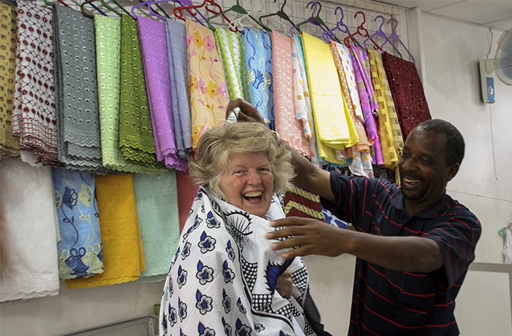 Jane in a Fabric Shop