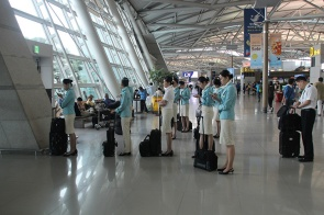 Korean Air Stewards Waiting to Leave