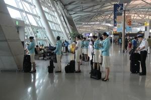 Korean Air Stewards Waiting to Leave