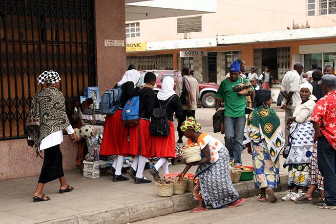 School Girls and Vegetable Sellers