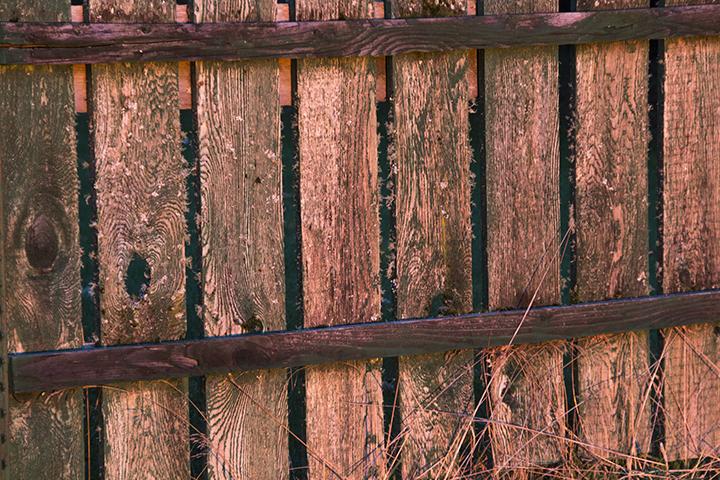 sunset on fence made of red alder