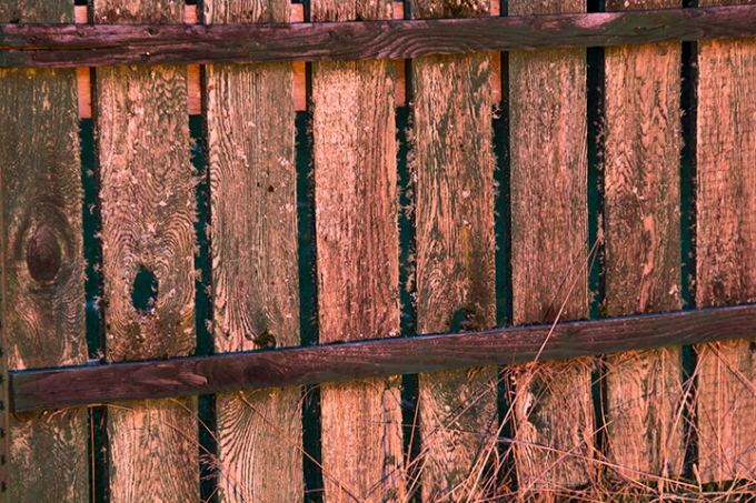sunset on fence made of red alder