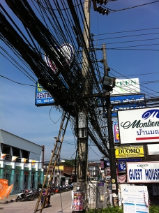 Telephone Wires in Phnom Penh