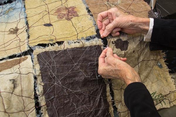 Jane Ingram Allen working on his Salmon River Estuary Site Map