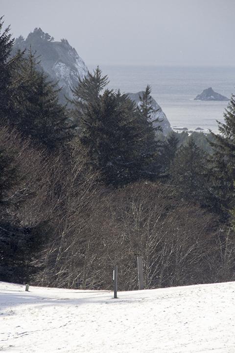 View of ocean still snowing