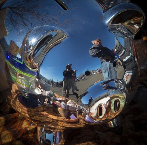 Santa Rosa Flea Market-reflective piggy bank 2024