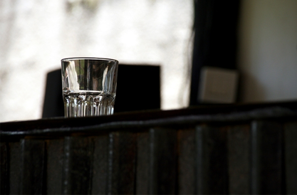 water glass on bar