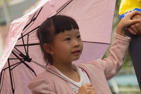 Amy with umbrella