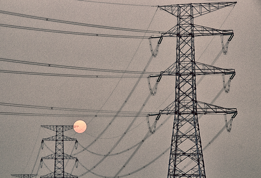 Electric lines - at sunset