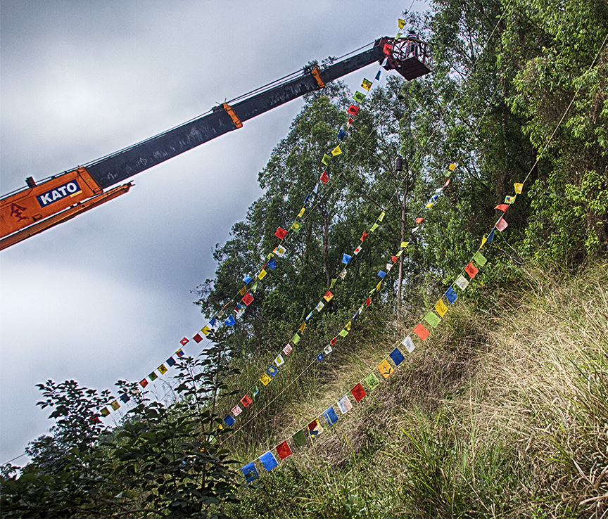 Putting up prayer flags-1