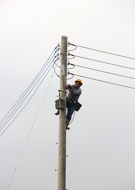 Electric pole man