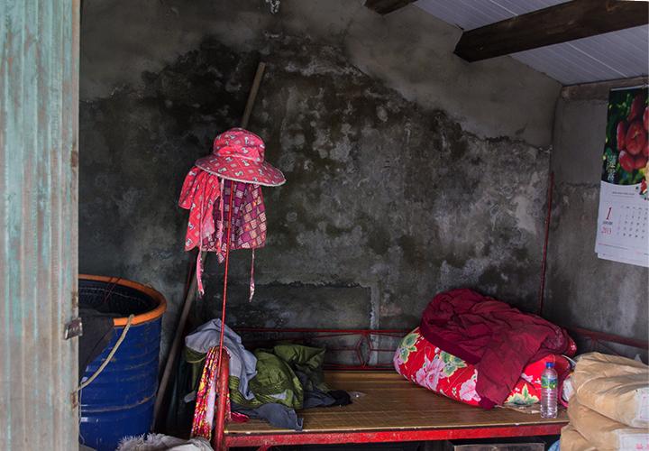 inside fishing hut