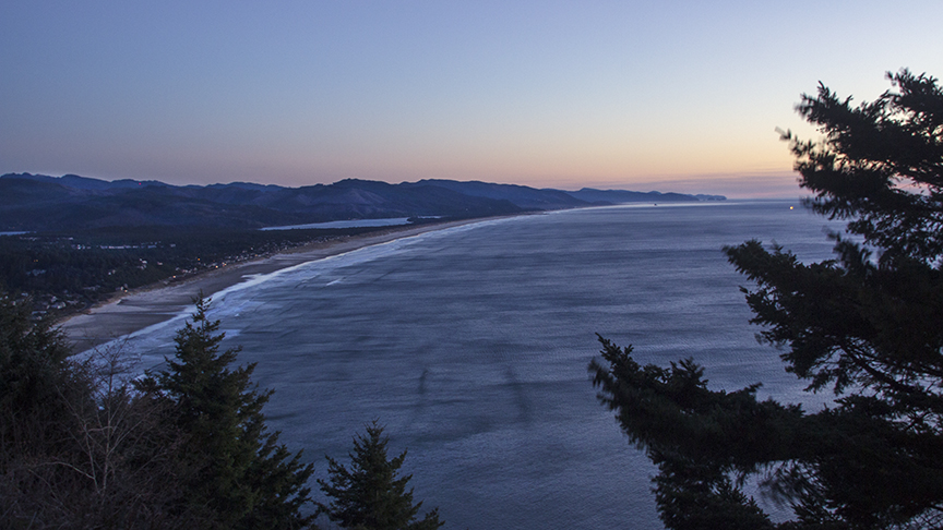 Sunset Looking South Toward Rockaway Beach, Oregon
