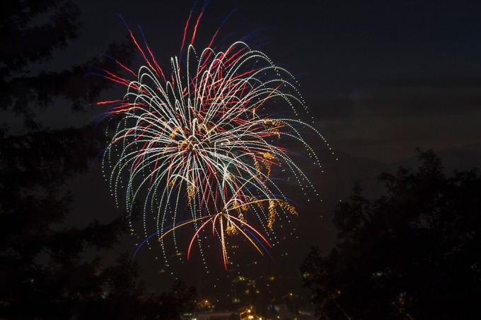 blue red gold fireworks