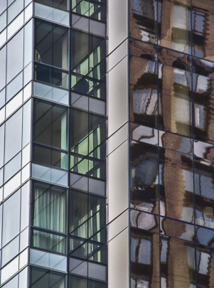 Reflections of two buildings on 23rd St, New York City, 2014