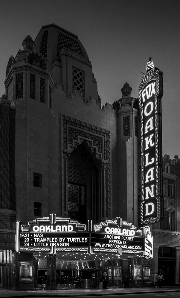 Fox Oakland Theater, Oakland California Color Version https://allentimphotos2.wordpress.com/2014/10/26/fox-oakland-theater/ Leanne Cole's Monochrome Madness https://wordpress.com/read/blog/id/15780266/ You should visit this site. There are some great photographs.