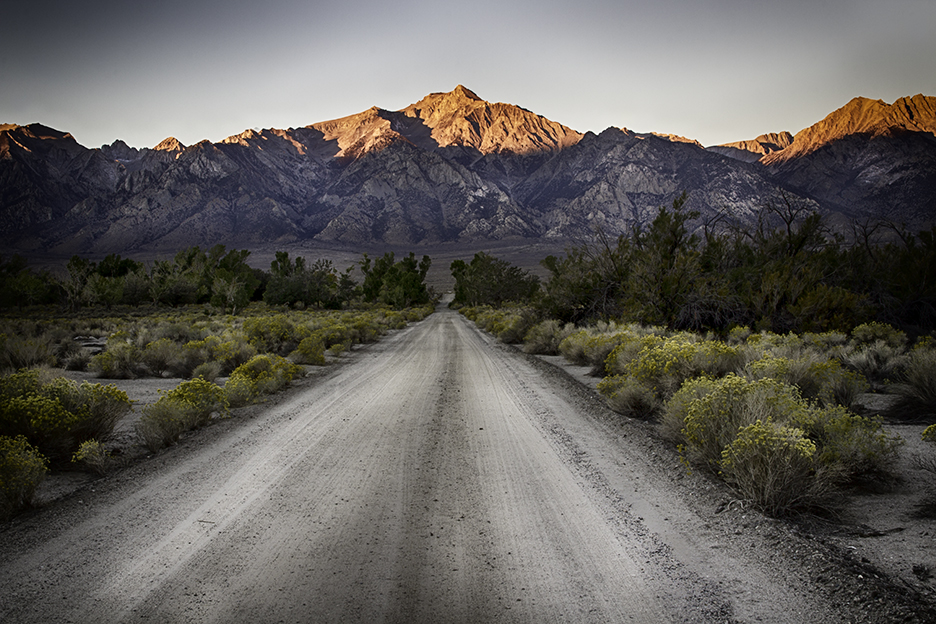View of the Sierra Nevada Mountains Early in the Morning from Manzanar - the Japanese Internment Camp, Owens Valley, California. http://www.nps.gov/manz/index.htm