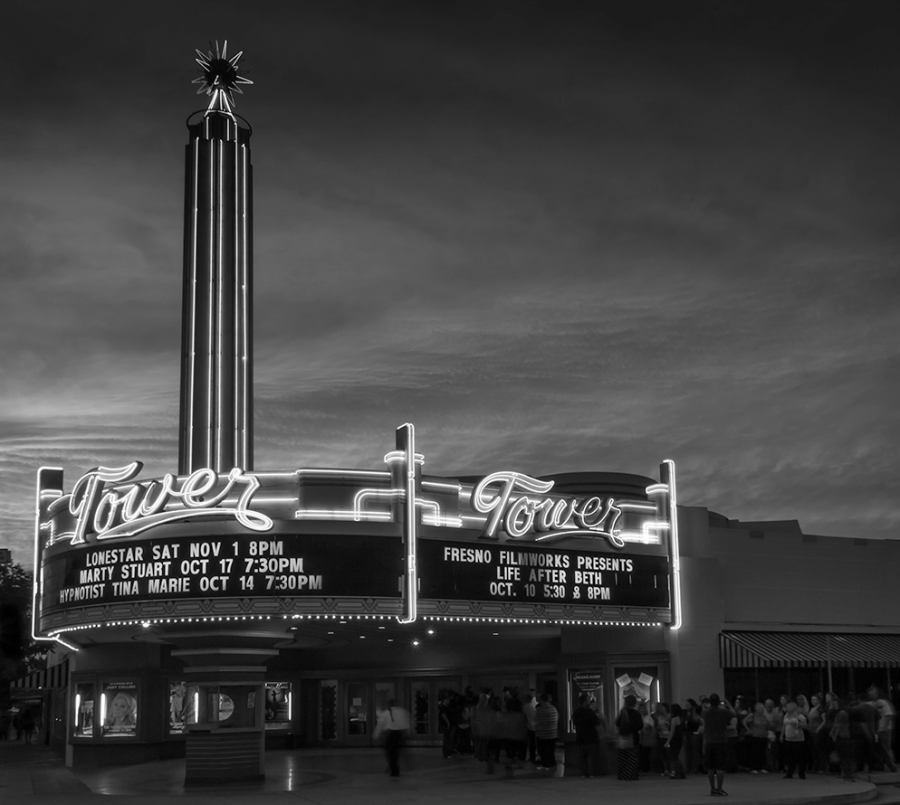 Tower Theater, Fresno, California. Posted on Leanne Cole's Monochrome Madness #34 http://leannecolephotography.com/2014/10/22/mm34-monochrome-madness-34/
