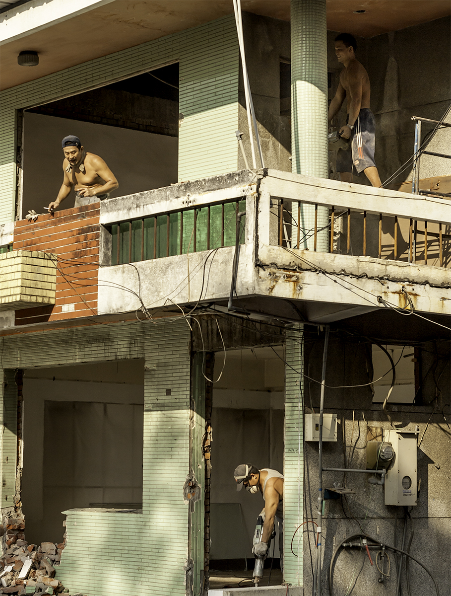 Renovation in Taiwan means removing concrete walls. Concrete is a cheep material and is commonly used in buildings. You can't image what it is like to live in or next door to a building when this is taking place.