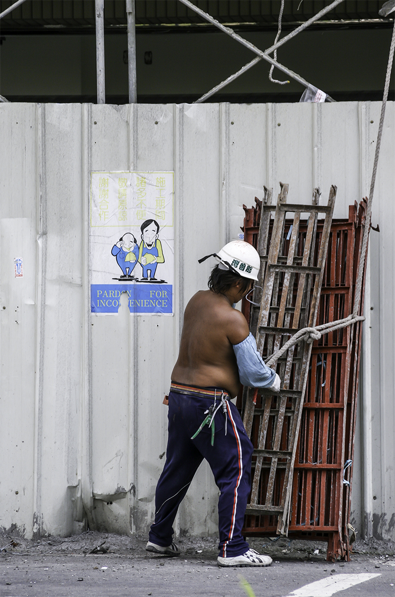 Construction in Taiwan is booming and there is a high demand for metal scaffolding vs. the old bamboo. Installation and removal demands skillful and strong workers. Those workmen who are overweight stay on the ground rather than risk  falling or causing the whole scaffolding to collapse.