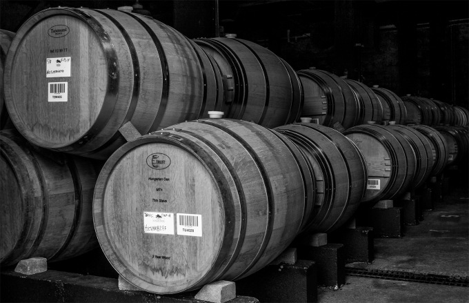 Barrels for aging Hess Collection Wines, Napa, CA