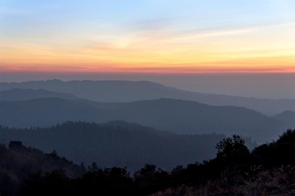 Sunset from summit of Hood Mountain Regional Park & Open Space Preserve, northern entrance.