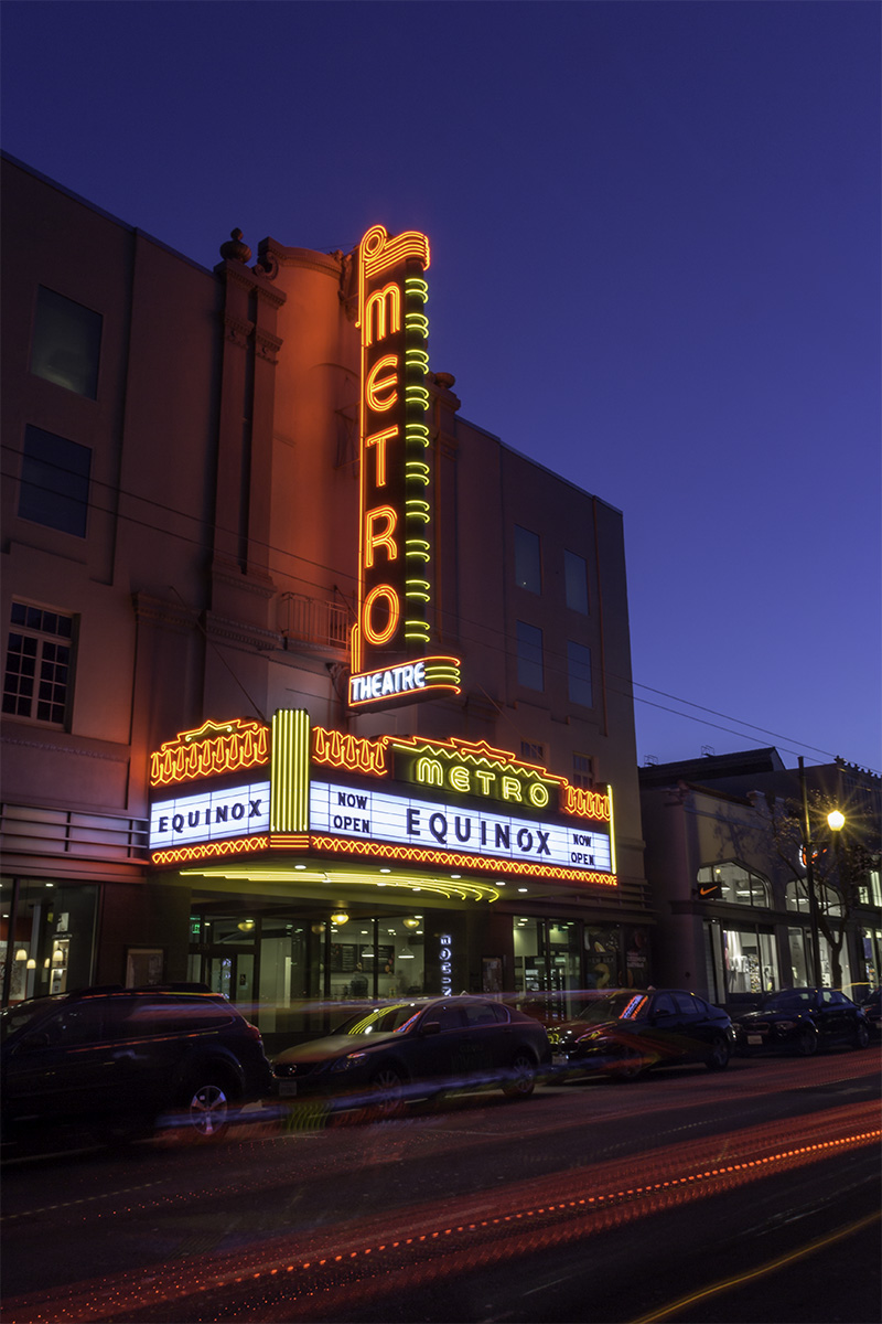Metro Theater, San Francisco, CA, February 2015. Equinox Corporations has beautifully restored the marquee of the theater while creating a first class health club and gym.