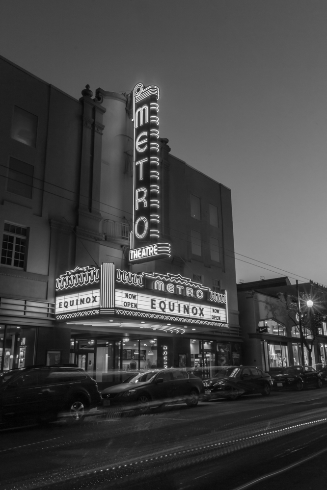 Metro Theater, San Francisco, CA, February 2015. Equinox Corporation has beautifully restored the marquee of the theater while creating a first class health club and gym. Also seen on Monochrome Madness #51, http://leannecolephotography.com/2015/02/25/mm51-monochrome-madness-51/