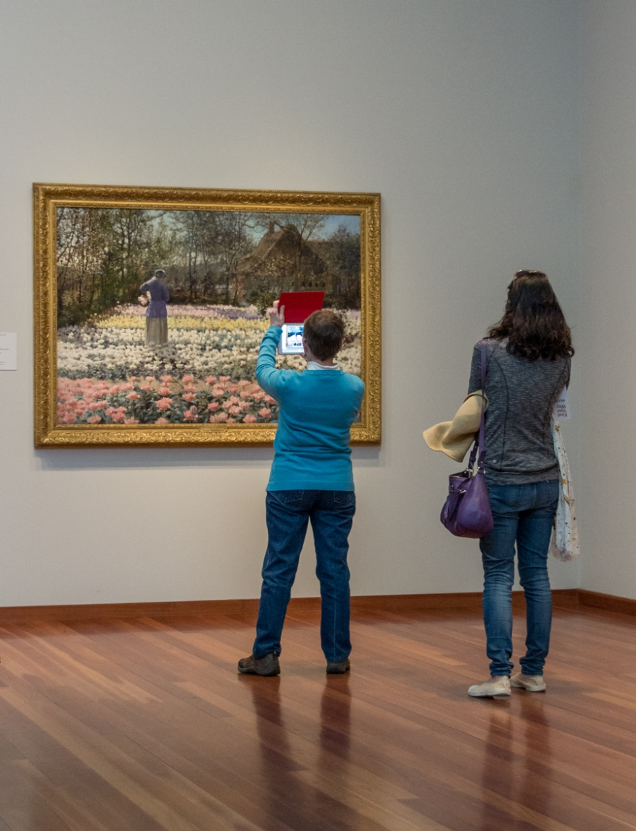 Visitor to the de Young Museum taking a picture of Tulip Culture by George Hitchcock, 1887. Golden Gate Park, San Francisco, February 2015