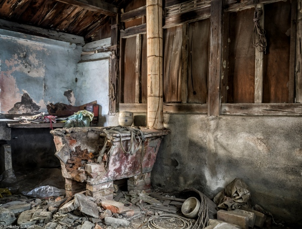Remains of a cooking stove in a traditional house in Cheng Long Village, Yunlin County, Taiwan. HDR April 29, 2015