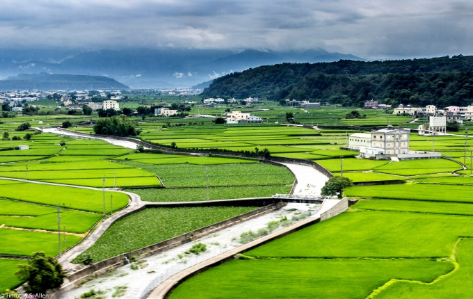 Taiwan Landscape View from the High Speed Train. Location North of Taichung.  May 12, 2015