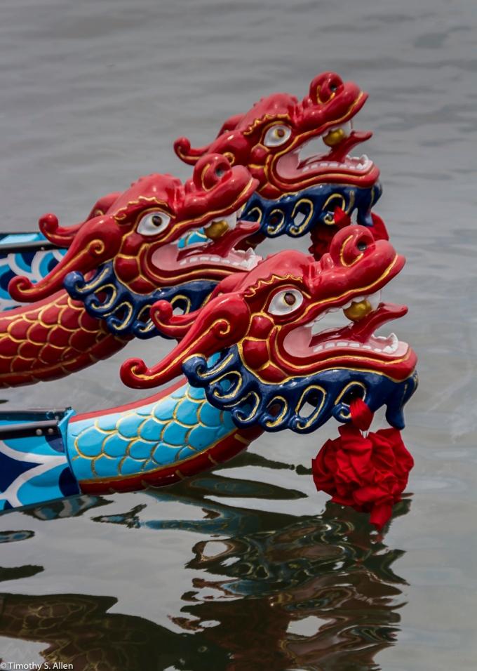 Racing Boats for the Dragon Boat Festival Badoazi Fishing Harbor, Taiwan June 1, 2015