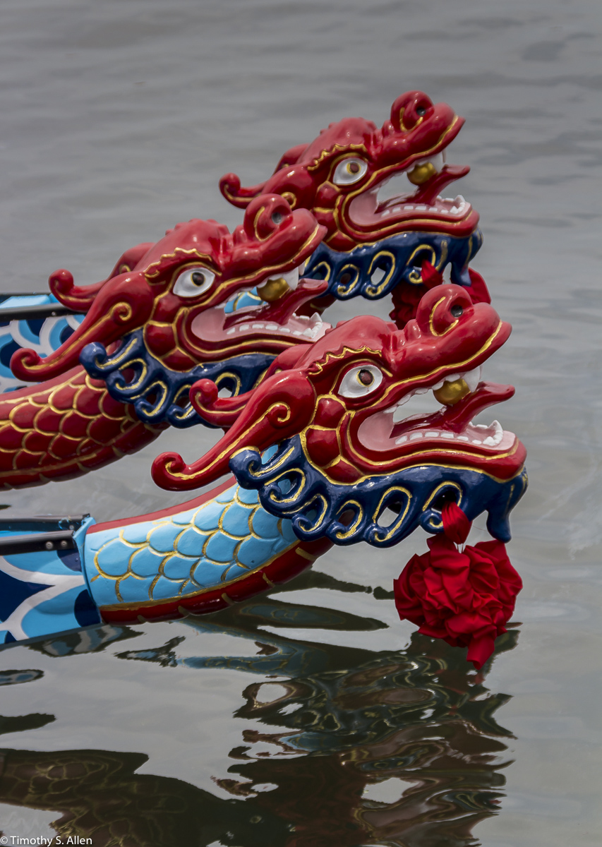 Racing Boats for the Dragon Boat Festival Badoazi Fishing Harbor, Taiwan June 1, 2015
