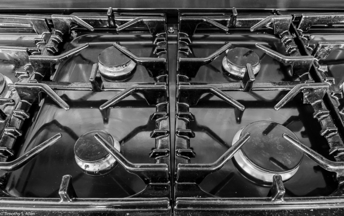 Gas Stove Top June 21, 2015 Also seen at Leanne Cole's Monochrome Madness 2-16, http://leannecolephotography.com/2015/06/24/mm-2-16-monochrome-madness-2-16/