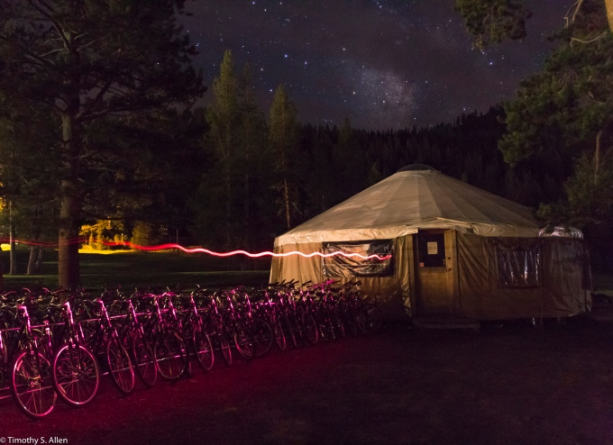 Bike Rental at the Resort at Squaw Creek, Lake, Tahoe, CA, USA 8-16-2015 f/3.5, 13 sec, ISO 1600, 17mm, The foreground was light painted with a red head lamp and wore by my brother-in-law who walked from center to left during the exposure.