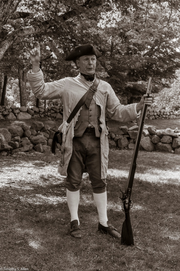 Ed Wilder, a National Park employee in 1775 period clothing outside the Hartwell Tavern, Lincoln, MA. August 29, 2015