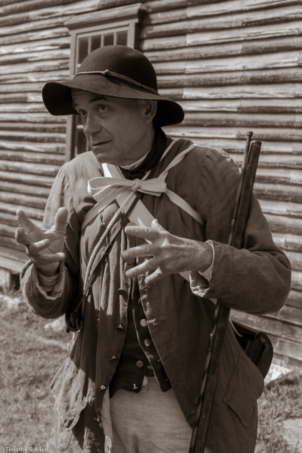 One of The Lincoln Minute Men volunteers dressed in 1775 period clothing at the Captain William Smith House, Lincoln, MA August 29, 2015