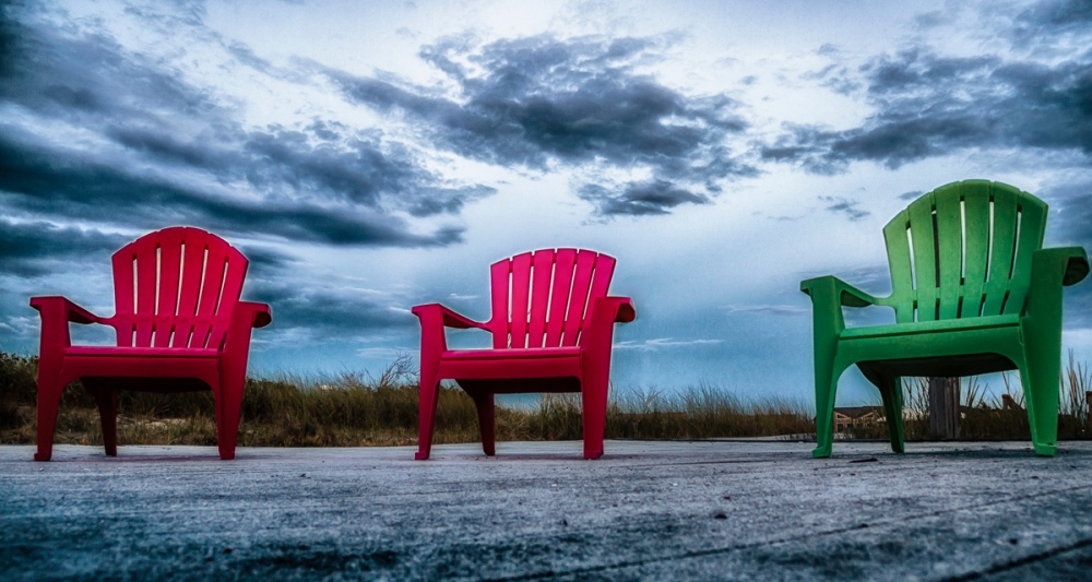 Chairs Bolted Down Watch Hill Visitors Center, Fire Island National Seashore, Fire Island, NY, USA September 9, 2015