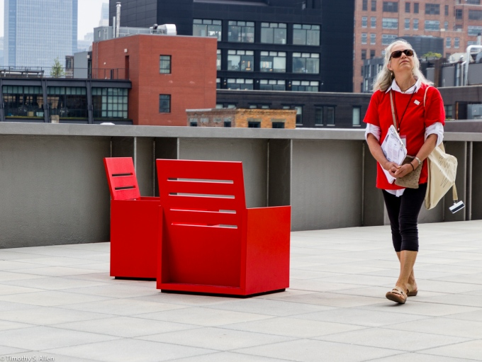 """Three Sitting in Mary Heilmann's """"Sunset"""" chairs on the 5th floor outdoor gallery, of the Whitney Museum of American Art, 99 Gansevoort St, New York City, NY, USA"""