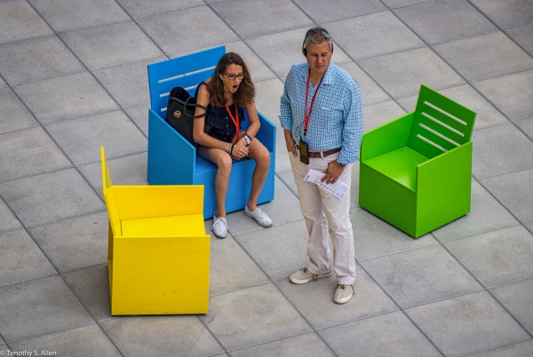 """From the Exhibition of Mary Heilmann's """"Sunset"""" chairs formerly located on the 5th floor outdoor gallery, of the Whitney Museum of American Art, 99 Gansevoort St, New York City, NY, USA September 4, 2015"""