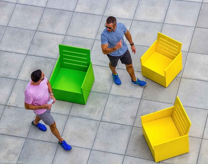 """From the Exhibition of Mary Heilmann's """"Sunset"""" chairs on the 5th floor outdoor gallery, of the Whitney Museum of American Art, 99 Gansevoort St, New York City, NY, USA September 4, 2015"""