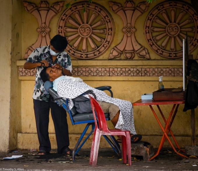 Barber in Phnom Penh, Cambodia January 12, 2012