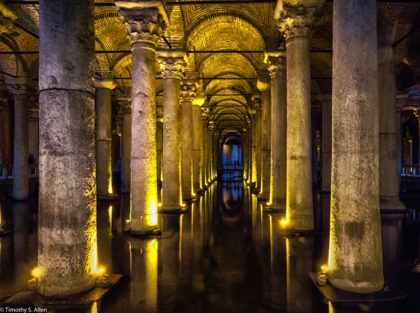 The Basilica Cistern, is the largest of several hundred ancient cisterns that lie beneath the city of Istanbul, Turkey