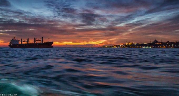 Crossing the Bosphorus by Ferry in Istanbul, Turkey November 23, 2015