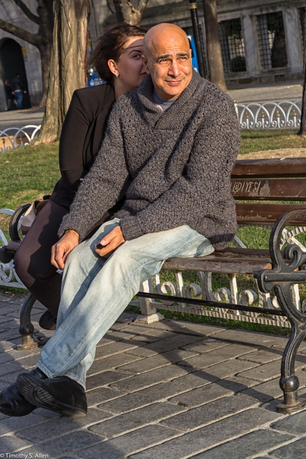 Couple in the Hippodrome Enjoying the Setting Sun. Istanbul, Turkey November 21, 2015