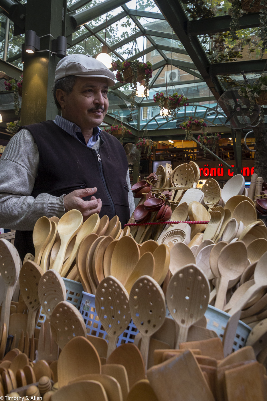 Handmade Wooden Kitchen Utensils Peddler - Bazaar, Izmir, Turkey, December 11, 2015